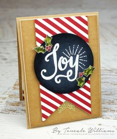 By Teneale Williams   #ChristmasCard #handmade using #craft Materials from Stampin' Up! the stamp set featured in called Berry Merry, White embossing was used on Black cardstock for a Chalkboard look. A fun stamping technique.