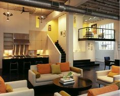 Mid Century Modern Interior in Contemporary Loft Design