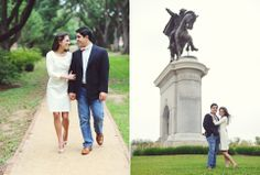 cute engagement session near Sam Houston monument   Photo by Kreative Angle Photography