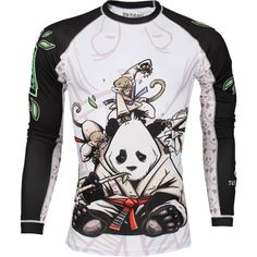 The Tatami Gentle Panda Rash Guard was designed by the talented Chris Burns. Pay tribute to the gentle art of Jiu Jitsu with Tatami. High quality material Fully sublimated artwork to ensure long lasting print Features calm and collected panda being attacked by monkeys 2 tone color scheme - White body, Black Sleeves