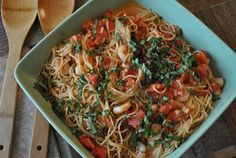 Linguini with Shrimp and Tomato Cream Sauce - super easy!
