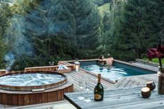 Chalet Ferme De Moudon in Les Gets, France Cabins In The Woods, House In The Woods, Dream Home Design, House Design, Ideas Cabaña, Sunken Hot Tub, Spas, Cabana, Pool Houses