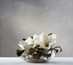 Faux Magnolia Composed Arrangement #potterybarn Simple yet elegant..you can turn this arrangement up a notch by adding river rock or gemstone pebbles for color.