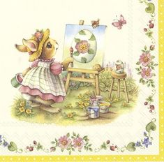 13 inch 4 single  Easter Paper Napkins NEW Serviettes BUNNY /& LITTLE CHICKEN