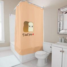 #funny - #I Loaf You Kawaii Bread Funny Cartoon Food Pun Shower Curtain