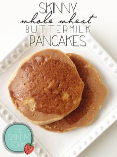 Skinny Whole Wheat Pancakes - Super light and fluffy whole wheat pancakes that are only 190 calories in a serving of two!