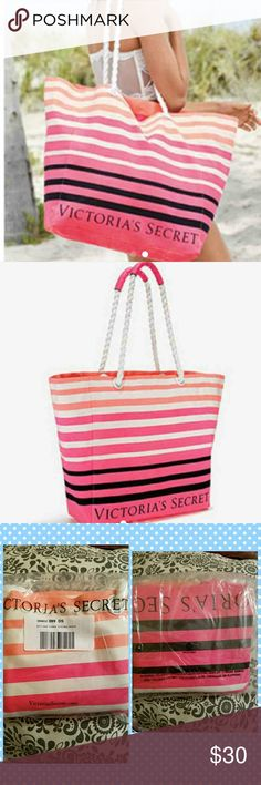 Victoria Secret Beach Tote Pink, black and white stripes,  new ,still in original online packaging. Victoria Secret Bags Totes