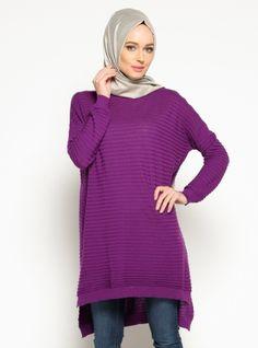 Knitted Tunic - Purple - Seyhan Fashion