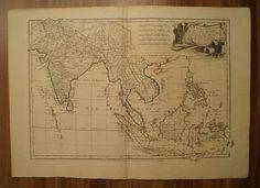 ASIA INDIA BENGAL SIAM THAILAND SUMATRA BORNEO ORIG. ENGR. MAP BONNE 1762