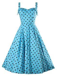 Light Blue Polka Dots Sleeveless Women's Day Dress