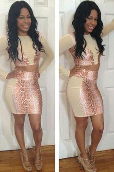 Peach Snakeskin High Waisted Skirt Set