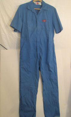 Mens Dickies  42 Reg   Blue Short Sleeve Jumpsuit  Coveralls  Six Pockets #Dickies