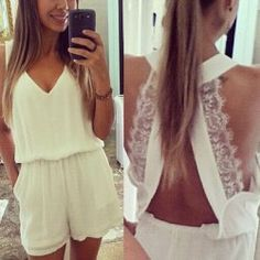 Sexy Plunging Neck Sleeveless Solid Color Laciness Women's Romper