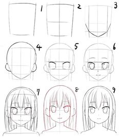 Manga/Anime female faces (in Anime, the head and eyes are larger than would be normal) Anime Face Drawing, Drawing Anime Bodies, Anime Character Drawing, Anime Drawings Sketches, Pencil Art Drawings, Anime Sketch, Cute Drawings, Manga Drawing Tutorials, Manga Tutorial