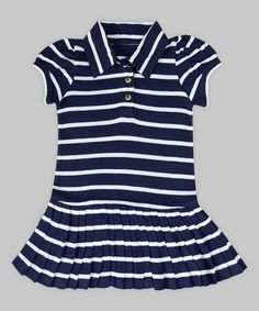 Look at this #zulilyfind! Navy & White Stripe Polo Dress - Infant, Toddler & Girls #zulilyfinds