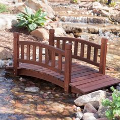 4 Ft Garden Bridge In Red Shorea Wood With Protective Oil Finish