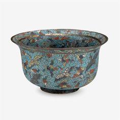 A rare Chinese cloisonné enameled deep bowl decora