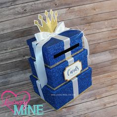 Card Box 3 Tier in Royal Blue, Gold & White | Gift Money Box for Any Event | Royal Prince Princess | Wedding | Baby Shower | Birthday by LovinglyMine on Etsy
