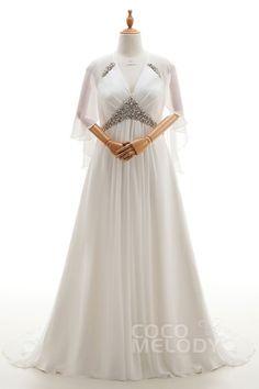 Timeless A-Line Halter Natural Court Train Chiffon Ivory Sleeveless Lace Up-Corset Plus Size Wedding Dress Crystal Jacket-Bolero CWLT16011#Cocomeldy#Weddingdresses#Bridalgown#