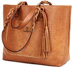 Large Light Khaki Vegan LeatherTote Shoulder Bag by KMFFLY  7f1429018324b