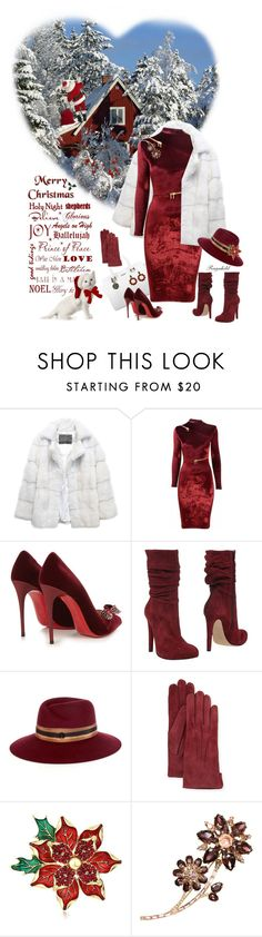 """Merry Christmas to All in Red & White!"" by ragnh-mjos ❤ liked on Polyvore featuring Lilly e Violetta, Agent Provocateur, Christian Louboutin, Jolie By Edward Spiers, Maison Michel, Mario Portolano, Napier, Kate Spade and Marni"