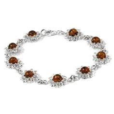 Ambre de la Baltique miel et argent Sterling Motif abstrait moderne Bracelet fleur 19 cm