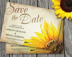 Sunflower Save The Date Card Template ~ Wedding, Rustic Vintage, Yellow…