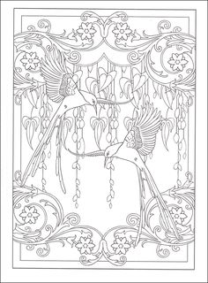 art nouveau animal designs coloring book additional photo inside page