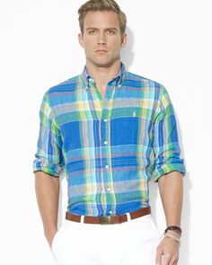 fed791cdc898 Ralph Lauren - Blue Polo Custom-fit Plaid Linen Sport Shirt for Men - Lyst