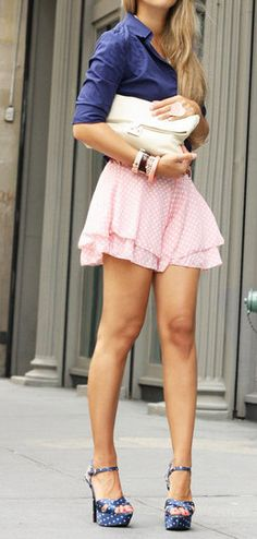 Beautiful Pink Spotty Skirt w/ Navy Collared Shirt and Navy Spotty Heels