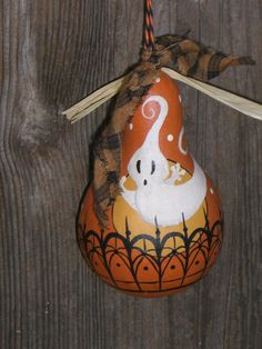 Halloween Vintage Style Dried Gourd Ornament Ghost Ornie Hand Painted Folk…