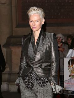 Tilda Swinton out looking fabulous after napping in a glass box at MOMA