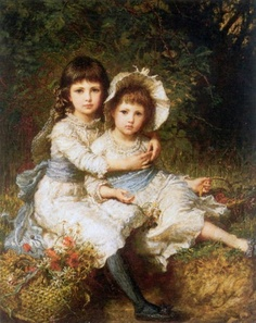 Cecile and Adela, Children Of George Drummond   Karl Wilhelm Bauerle (1831 – 1912, German)