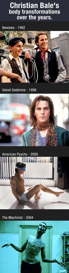 Christian Bale's body transformations over the years.