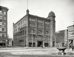 """Richmond, Virginia, circa 1910. """"Masonic Temple."""" Note the horse fountain with electric illumination.  Street sign says """"N. Adams Street"""" - Shorpy Historical Photo Archive :: Filling Station: 1910"""