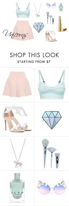 """Unicorns ~ inspired"" by fotinakii ❤ liked on Polyvore featuring RED Valentino, La Perla, Alexandre Birman, Unicorn Lashes, Estella Bartlett, unicorns, unicorn and unicornsstyle"
