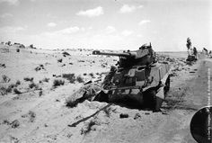 An Egyptian tank in the Sinai desert knocked out in an Israeli pre-emptive attack during the Six-Day War. (Photo by Terry Fincher/Getty Images). 1967