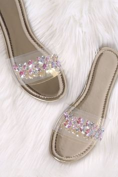 4de54a23baa6ef Patent Jeweled Transparent Band Slide Sandal  fashion  clothing  shoes   accessories  womensshoes