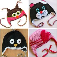Examples for hat designs, love the kitten, pinguin and heart. Owl looks weird