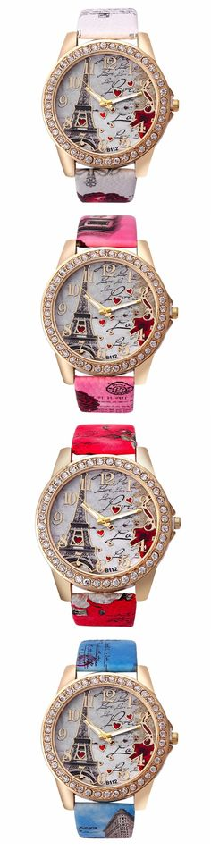 US$7.75 Sweet Luxury Watch Rhinestone Leather Eiffel Tower Heart Watch for Women Gift