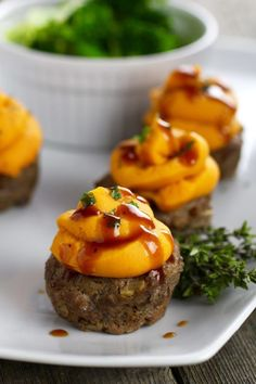 BBQ Meatloaf Muffins with Sweet Potato Topping |Paleo | Whole 30 | Egg-free | therealfoodrds.com