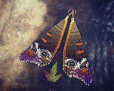 Made to Order Monarch Woven Wings Beaded Earrings Patterns, Seed Bead Earrings, Fringe Earrings, Boho Earrings, Beading Patterns, Seed Beads, Beaded Jewelry, Buckeye Butterfly, Motifs Perler