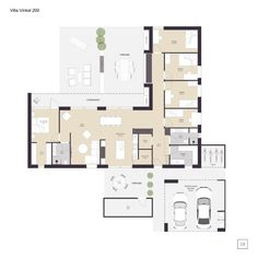 Villa Vinkel - arkitekttegnet hus - IDEALHUSE A/S 4 Bedroom House Plans, House Floor Plans, Circle House, L Shaped House, Architectural Floor Plans, Cottage Plan, Luxury House Plans, House Drawing, Sims House