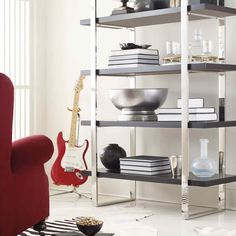 Bernhardt. Garrett Etagere, mirror polished stainless steel