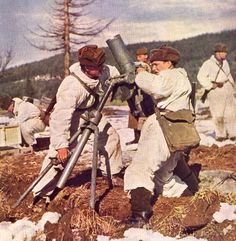 Czechoslovak People's Army mortar crew in winter military exercises.