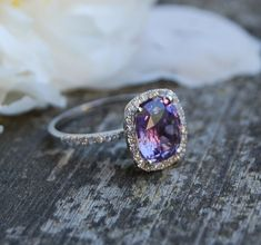 2.6ct Cushion Plum color change sapphire 14k white gold diamond engagement ring