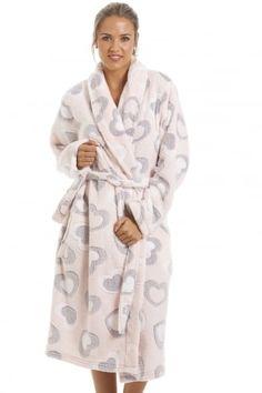 Grey And White Heart Print Supersoft Fleece Light Pink Bathrobe Cute Pajamas, Pajamas Women, Gold Velvet Dress, Manta Polar, Bath Robes For Women, Night Dress For Women, Lady Grey, Designer Lingerie, Well Dressed