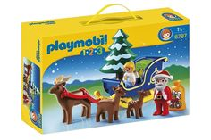 PLAYMOBIL Santa Claus with Reindeer Sleigh. Help Santa Claus deliver gifts this holiday season with the Reindeer Sleigh. With a bright and colorful design and large, rounded pieces, this Playmobil 1.2.3 set is ideal for toddlers. Playmobil is the largest toy manufacturer in Germany. Encourages children to explore and learn while having fun. Includes Santa figure, angel figure, three reindeer, sleigh, and bag of gifts.