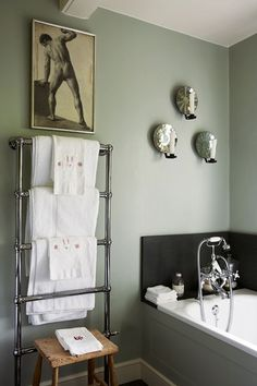 Gipsy House Bathroom, grey walls, the house of celebrated children's writer, Roald Dahl, author of the BFG and Charlie and the Chocolate Factory.