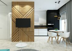 i like the wall idea, forget the TV.  nice way to break/divide up the space. Small apartment feature TV wall by Leo D'uk